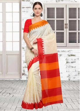 Embroidered Work Beige and Red Contemporary Saree