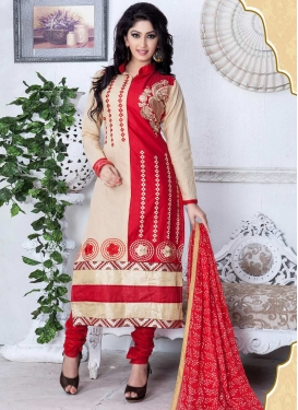 Embroidered Work Beige and Red Cotton Trendy Designer Salwar Kameez