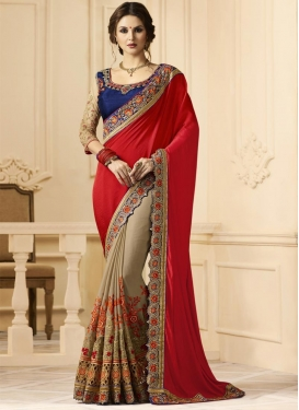 Embroidered Work Beige and Red Half N Half Trendy Saree