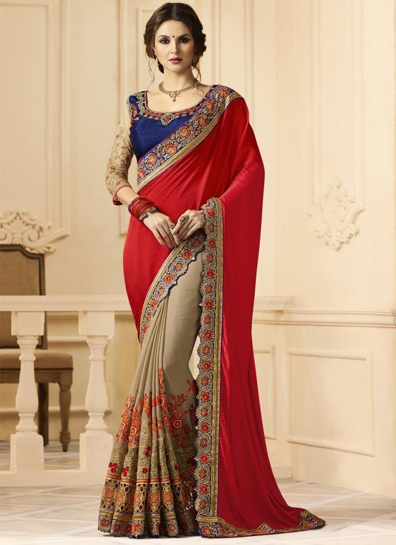Embroidered Work Beige and Red Half N Half Trendy Saree