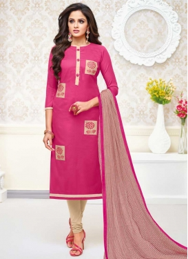 Embroidered Work Beige and Rose Pink Cotton Silk Trendy Churidar Salwar Kameez
