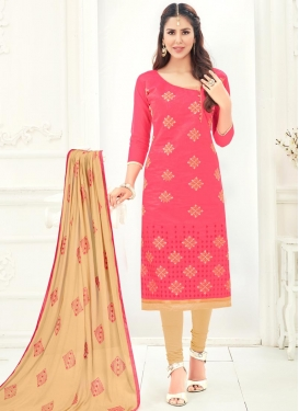 Embroidered Work Beige and Rose Pink Trendy Straight Salwar Suit