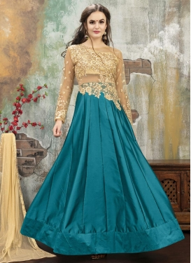 Embroidered Work Beige and Teal Designer A Line Lehenga Choli