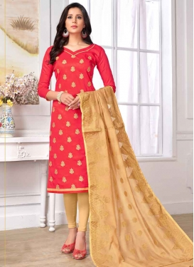 Embroidered Work Beige and Tomato Cotton Trendy Straight Salwar Suit