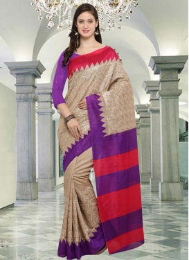 Embroidered Work Bhagalpuri Silk Contemporary Style Saree