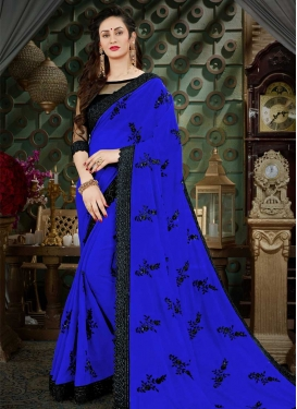 Embroidered Work Black and Blue Trendy Classic Saree