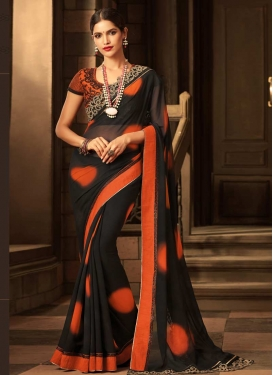 Embroidered Work Black and Coral Trendy Saree