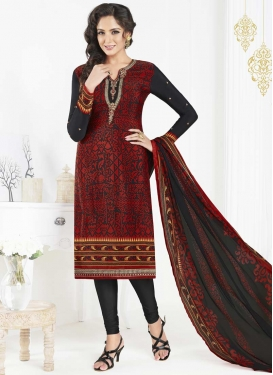 Embroidered Work Black and Crimson Crepe Silk Churidar Salwar Kameez