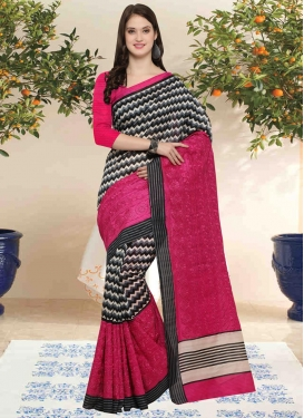 Embroidered Work Black and Fuchsia Trendy Classic Saree