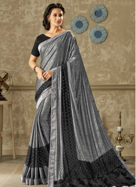 Embroidered Work Black and Grey Traditional Designer Saree