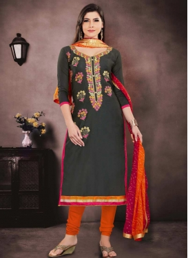 Embroidered Work Black and Orange Chanderi Cotton Pakistani Straight Salwar Kameez