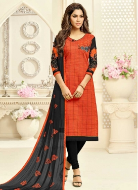 Embroidered Work Black and Orange Churidar Suit