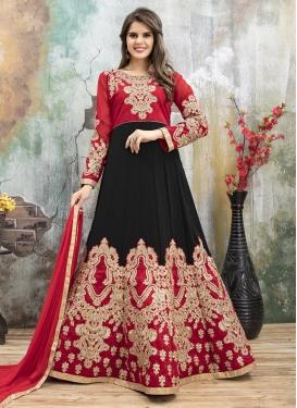 Embroidered Work Black and Red Art Silk Long Length Anarkali Salwar Suit