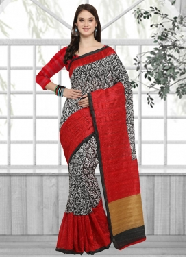 Embroidered Work Black and Red Classic Saree
