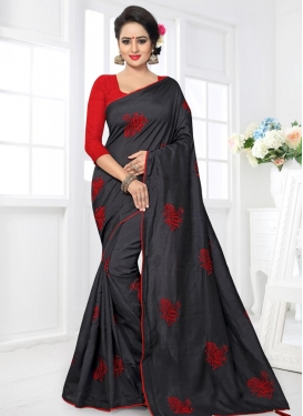 Embroidered Work Black and Red Contemporary Saree