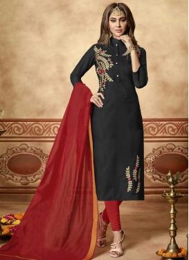 Embroidered Work Black and Red Trendy Churidar Salwar Kameez