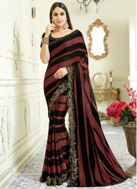 Embroidered Work Black and Rust Trendy Designer Saree
