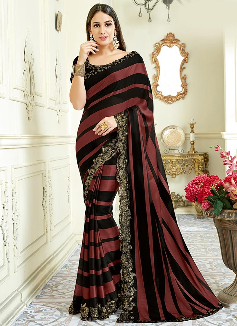 buy embroidered work black and rust trendy designer saree