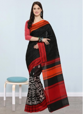 Embroidered Work Black and Tomato Contemporary Style Saree