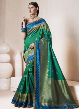 Embroidered Work Blue and Green Trendy Saree