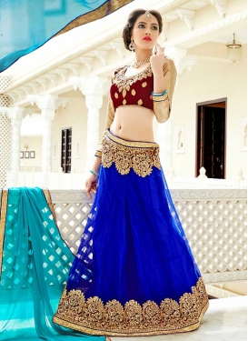 Embroidered Work Blue and Maroon Net A Line Lehenga Choli
