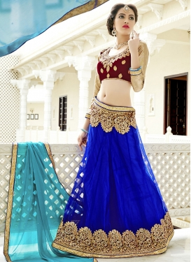 Embroidered Work Blue and Maroon Trendy A Line Lehenga Choli