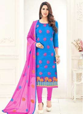 Embroidered Work Blue and Rose Pink Churidar Salwar Kameez