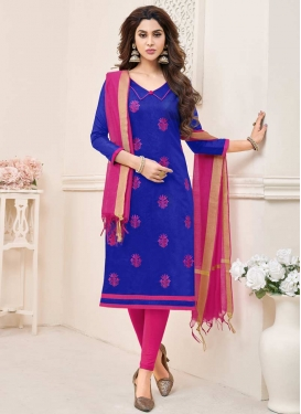Embroidered Work Blue and Rose Pink Churidar Salwar Suit