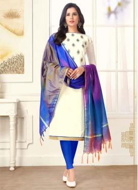 Embroidered Work Blue and White Churidar Salwar Kameez
