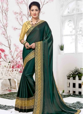 Embroidered Work Bottle Green and Cream Traditional Saree