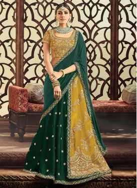 Embroidered Work Bottle Green and Gold Designer Lehenga Saree