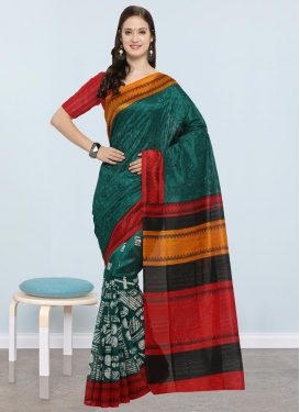 Embroidered Work Bottle Green and Red Traditional Saree
