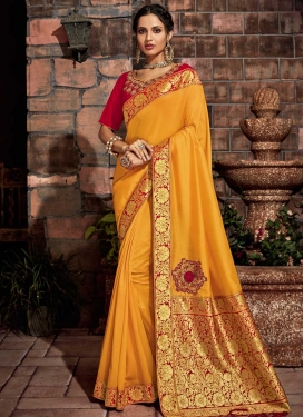 Embroidered Work Brocade Designer Traditional Saree