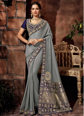 Embroidered Work Brocade Grey and Navy Blue Contemporary Style Saree