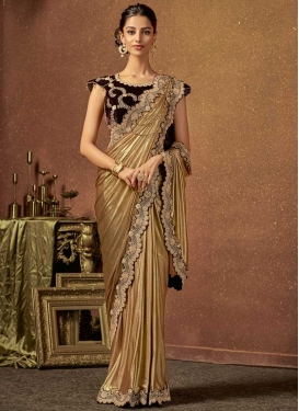 Embroidered Work Brown and Maroon Traditional Saree