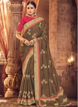 Embroidered Work Brown and Rose Pink Trendy Saree