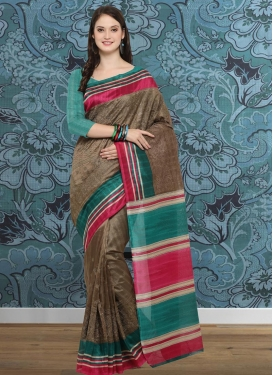 Embroidered Work Brown and Teal  Classic Saree