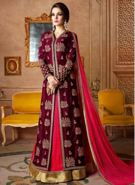 Embroidered Work Burgundy and Red Designer Kameez Style Lehenga Choli