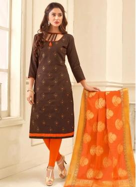 Embroidered Work Chanderi Cotton Coffee Brown and Orange Trendy Churidar Salwar Suit