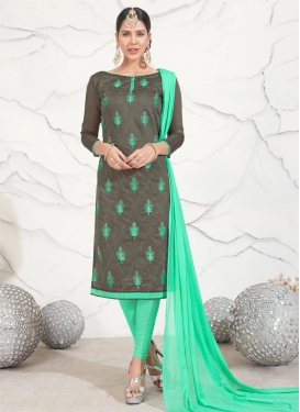 Embroidered Work Chanderi Cotton Grey and Turquoise Salwar Kameez