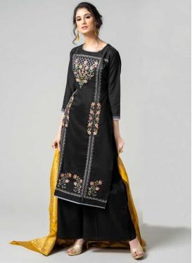 Embroidered Work Chanderi Silk Palazzo Style Pakistani Salwar Kameez