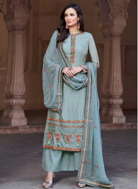 Embroidered Work Chanderi Silk Palazzo Style Pakistani Salwar Kameez