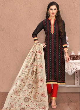 Embroidered Work Chanderi Silk Trendy Straight Salwar Kameez