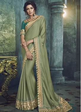 Embroidered Work Chiffon Satin Classic Saree