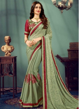 Embroidered Work Chiffon Satin Contemporary Style Saree