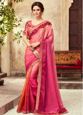 Embroidered Work Chiffon Satin Designer Contemporary Saree
