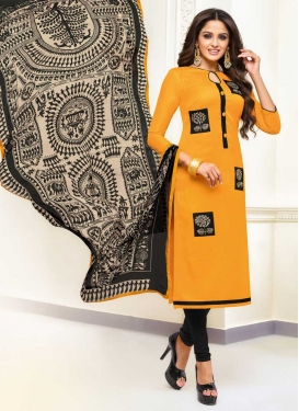 Embroidered Work Churidar Salwar Kameez For Casual