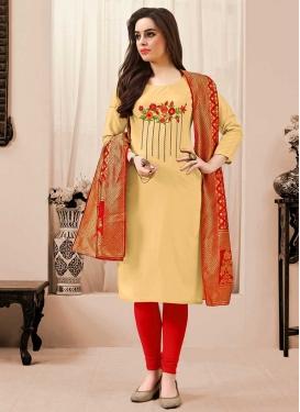 Embroidered Work Churidar Salwar Suit
