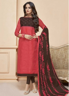 Embroidered Work Churidar Suit For Casual