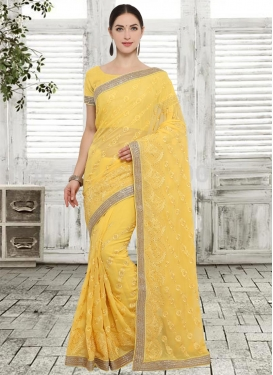 Embroidered Work Classic Saree For Party